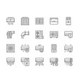 set air conditioning line icons remote control vector image