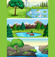 set of rural nature park vector image vector image
