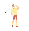 smiling cartoon golf palyer character standing vector image vector image