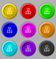 social network icon sign symbol on nine round vector image