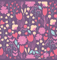 stylized flowers and branches seamless pattern vector image vector image