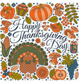 thanksgiving day greeting card various elements vector image vector image