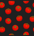 Tomato vegetables seamless pattern on black
