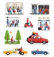 transportation vehicles people set vector image vector image