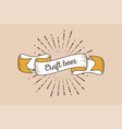 trendy retro ribbon with text craft beer and vector image vector image