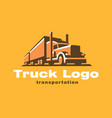 truck logo on dark background vector image vector image