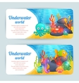 Underwater sea animals horizontal banners set vector image vector image