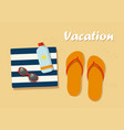 vacation flip flops in the sand with towel vector image