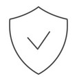 verified emblem thin line icon shield with check vector image vector image