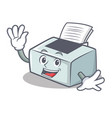 waving printer character cartoon style vector image vector image