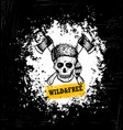 wild and free skull wearing coonskin hat with two vector image vector image
