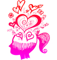 Woman head full of love thoughts vector image