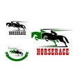 Horse race icons and equestrian sport vector image