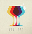 Wine bar concept glass drink icon color design vector image