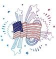 doodle pop flag american usa vector image