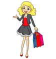 A smiling girl with bags vector image vector image