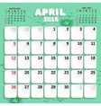 April Month Calendar 2015 vector image vector image