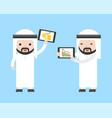 arab businessman holding tablet present turnover vector image vector image