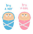 bashower card its a boy girl cute cartoon vector image