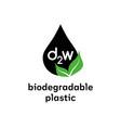 biodegradable d2w plastic sign logo eco vector image