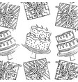 birthday cakes cream fruits and gifts pattern hand vector image vector image
