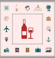 bottle of wine and wineglass icon elements for vector image