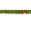 christmas fir tree border and christmas toys vector image