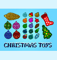 christmas set with different toys and text vector image