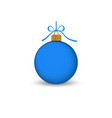 christmas tree ball with ribbon bow blue bauble vector image vector image