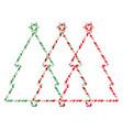 christmas tree candy cane frame border set vector image