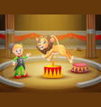 circus trainer performs a trick along with li vector image vector image