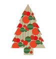 color silhouette of christmas tree with pattern of vector image vector image