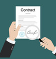 contract inspection concept hands holding vector image vector image