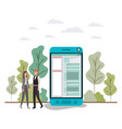 couple business with smartphone avatar vector image vector image