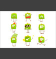 cute green funny humanized purse showing different vector image vector image
