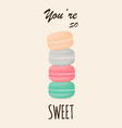 cute macaroons isolated on white vector image vector image