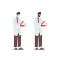 doctor in medical robe and medic mask writing vector image vector image