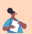 female doctor in uniform holding clipboard vector image vector image