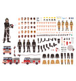 firefighter creation set or constructor vector image