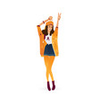 flat young woman dancing in shorts isolated vector image