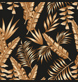 gold tropical leaves seamless black background vector image vector image
