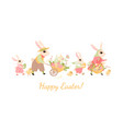 happy family easter bunnies vector image vector image