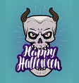 happy halloween greeting card monster with horns vector image vector image