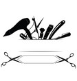 logo for hairdresser black and white vector image