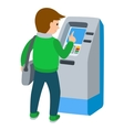 Man using ATM machine of vector image vector image