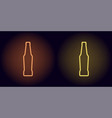 orange and yellow neon beer bottle vector image