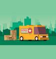 orange delivery truck on city landscape background vector image vector image