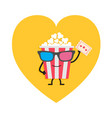 popcorn box in 3d glasses character with face vector image