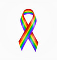 rainbow ribbon gay pride lgbt rainbow ribbon vector image