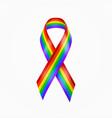 rainbow ribbon gay pride lgbt ribbon vector image
